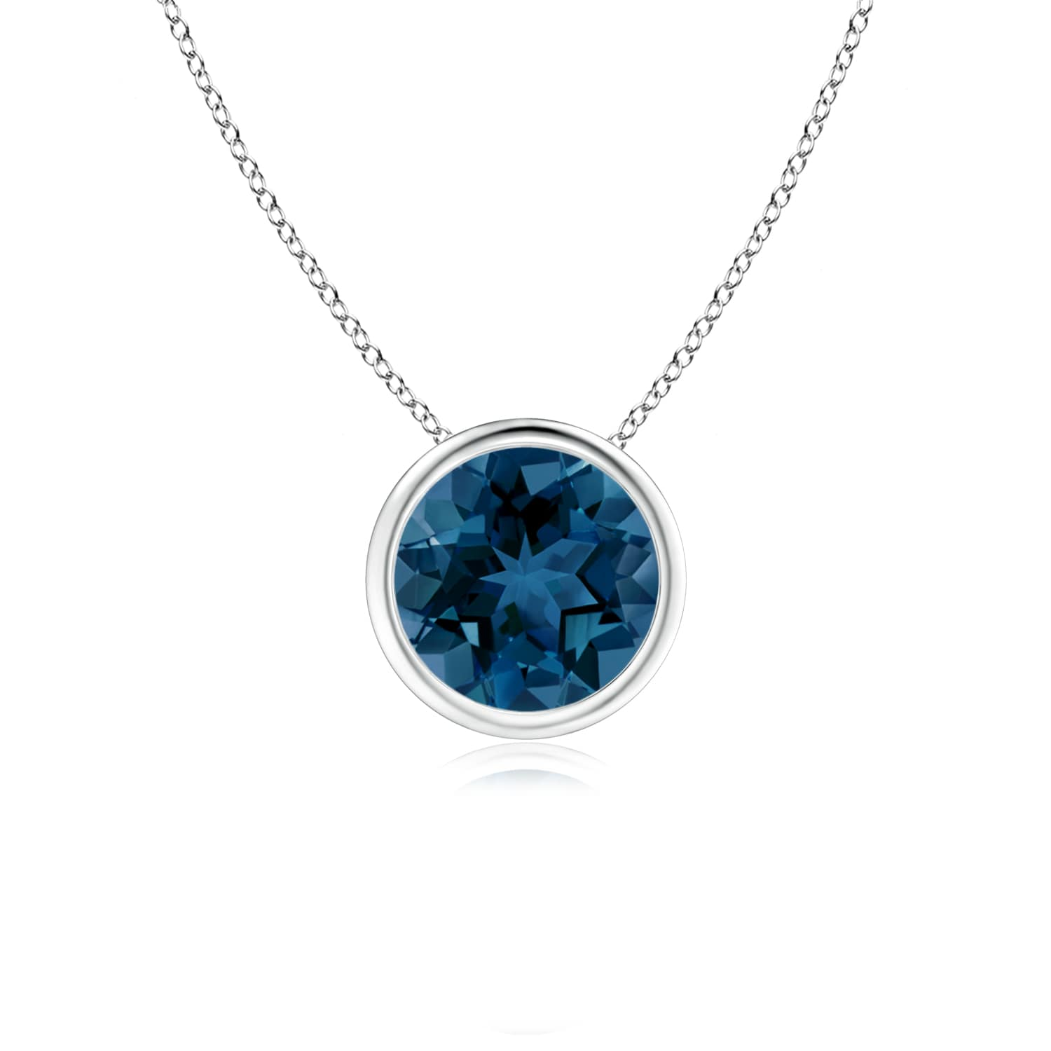 Angara Round London Blue Topaz Necklace for Women in Platinum