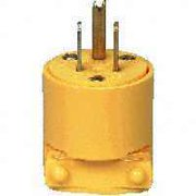 Cooper Wiring BP4867 2-Pole 3-Wire Yellow Vinyl Grounded Straight Plug, 15A/125V 5 Pack
