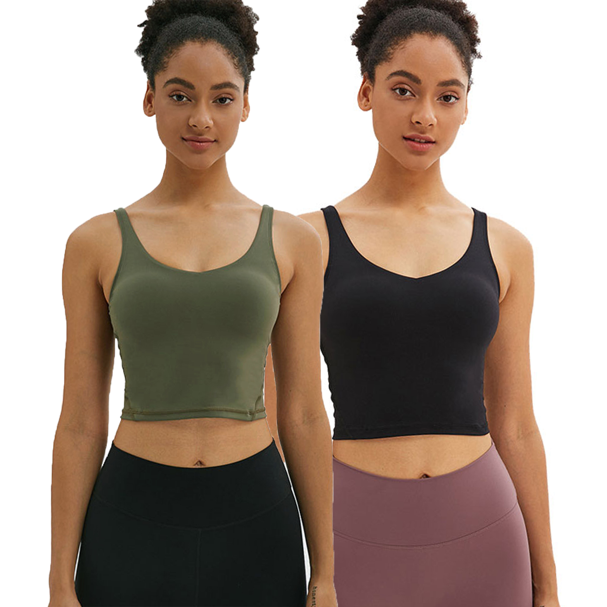 Crop Tank Tops for Women Workout Longline Padded Support Sports Bras Yoga Shirts for Gym Running Jogging Fitness