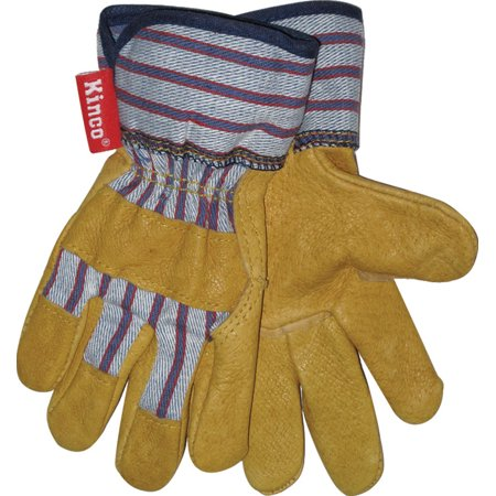 Kinco Insulated Gloves (Kinco 1917-Y Work Gloves for Youths made with Soft Durable Pigskin Leather with Safety Cuff and Wing Thumb - Kids Ages)