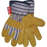 Kinco 1917-Y Work Gloves for Youths made with Soft Durable Pigskin Leather with Safety Cuff and Wing Thumb - Kids Ages 7-12