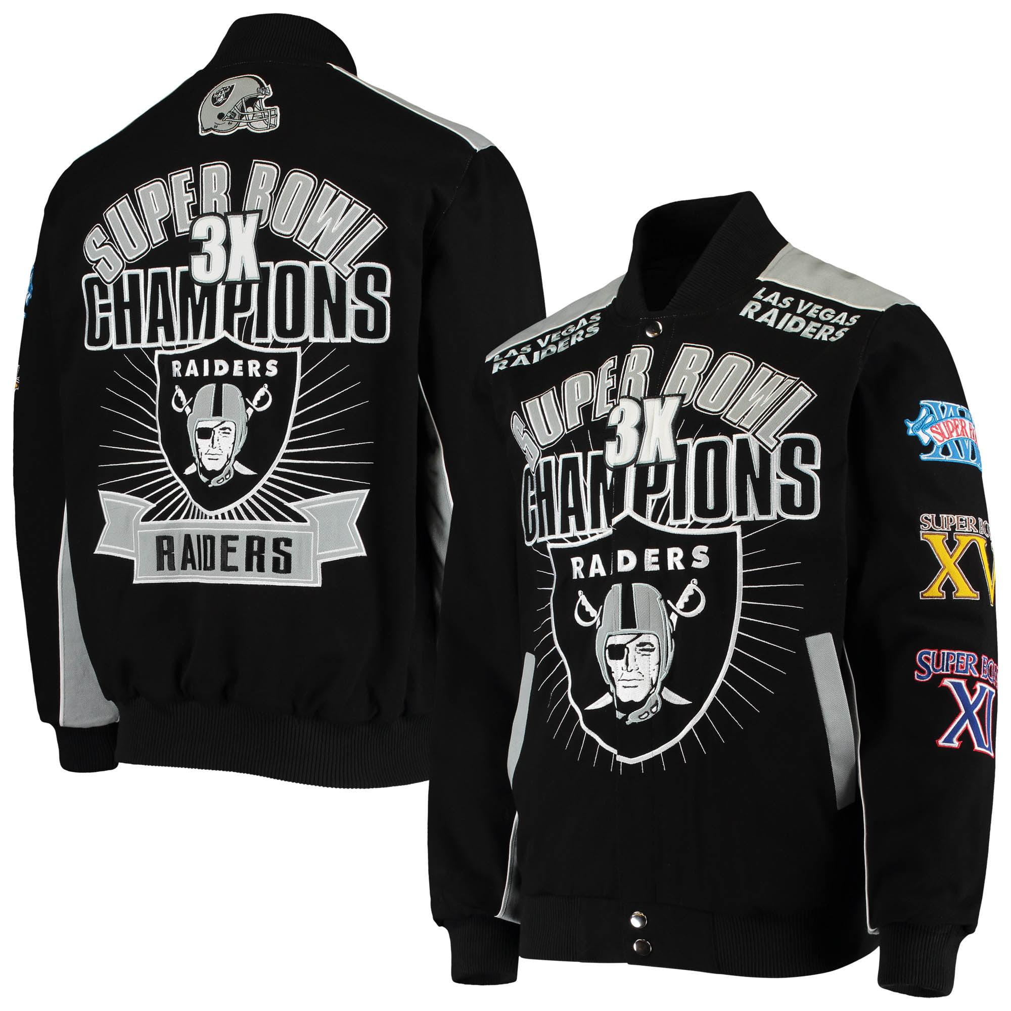 G-III Sports Las Vegas Raiders Faux Leather Varsity Button-Up Jacket