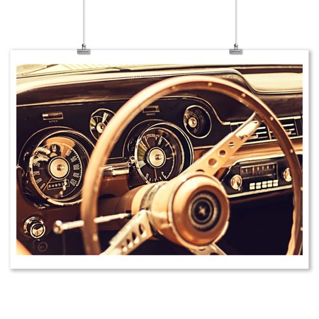 Vintage Car Decor (Vintage Car Dashboard - Lantern Press Photography (9x12 Art Print, Wall Decor Travel)