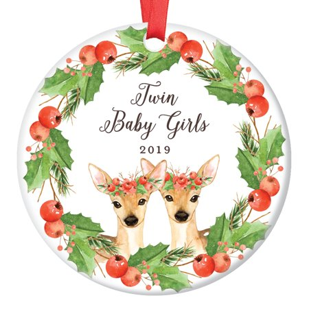 Twin Baby Girls Deer Christmas Ornament 2019, Newborn Twins Babies Xmas Present for New Mommy Daddy Parents Doe Floral Wreath Ceramic Porcelain Keepsake 3