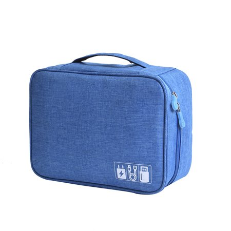 Travel Electronics Organizer Bag, Portable Thicken Electronics Accessories Cases Gadget Storage Bag for Various USB Cables Earphone Hard Drives Charger Power Bank