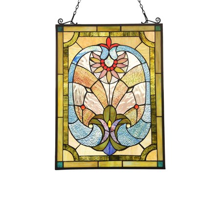 CHLOE Lighting LAILA Victorian Tiffany-glass Window Panel 24
