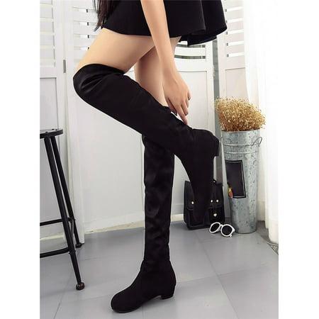 Women Winter Autumn Flat Boots Shoes High Leg Suede Short Long Boots BK/35