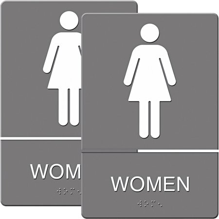 Headline Sign ADA Sign, Women Restroom Symbol with Tactile Graphic, Molded Plastic, 6; x 9;, Gray, Bundle of 2