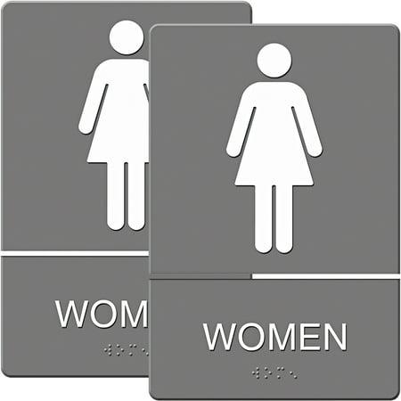 Headline Sign ADA Sign, Women Restroom Symbol with Tactile Graphic, Molded Plastic, 6; x 9;, Gray, Bundle of 2