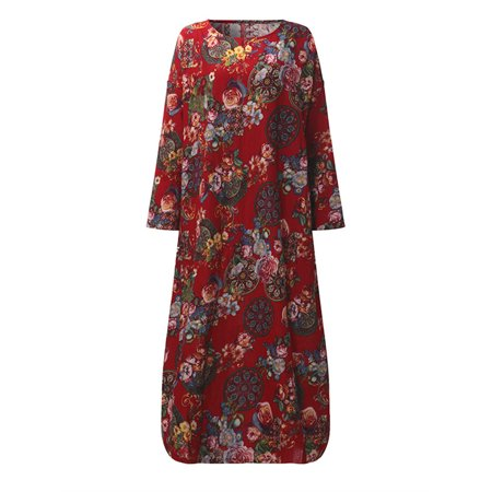 - Maternity Floral Print Long Sleeve O-Neck Baggy Cotton Pregnancy Dress