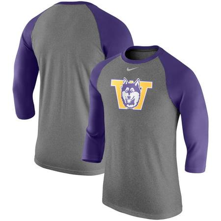 Washington Huskies Nike Retro Tri-Blend Three-Quarter Sleeve T-Shirt - Heathered Gray (Nike Retro)