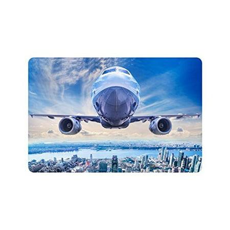 MKHERT Airplane Airliner in The Sky Above York City Doormat Rug Home Decor Floor Mat Bath Mat 23.6x15.7 inch - Above Door Decor