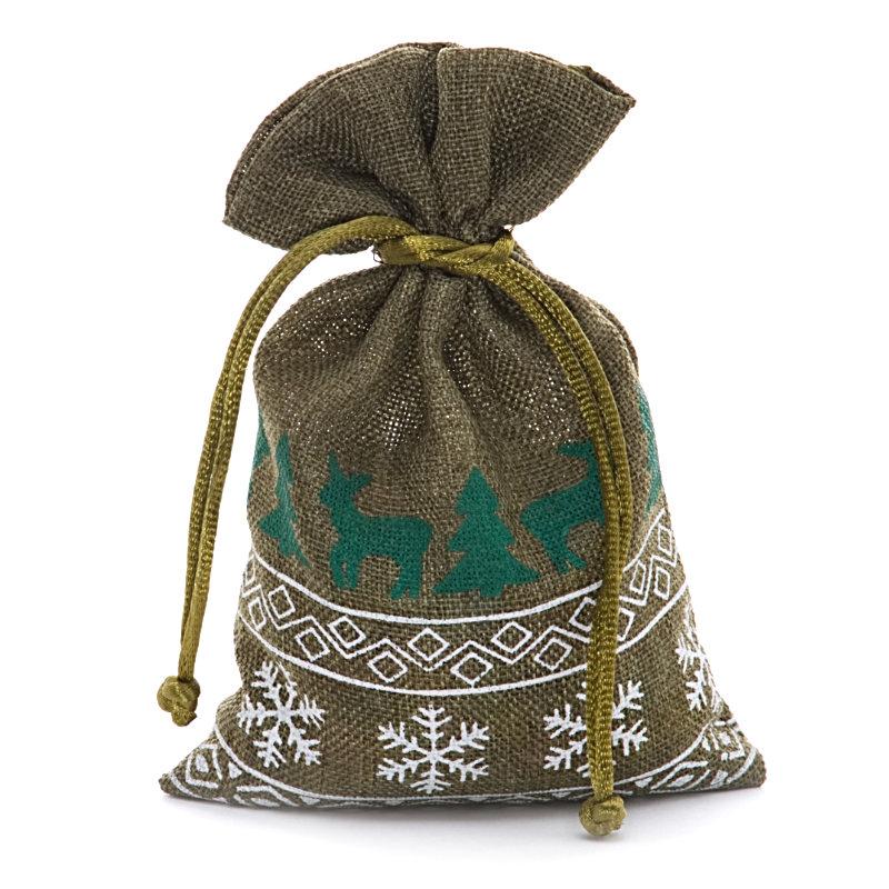 12ea - 8 X 10 Moss Christmas Faux Linen Bags by Paper Mart