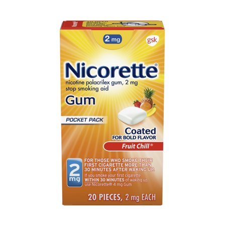 Nicorette Nicotine Gum, Stop Smoking Aid, 2 mg, Fruit Chill Flavor, 20 count