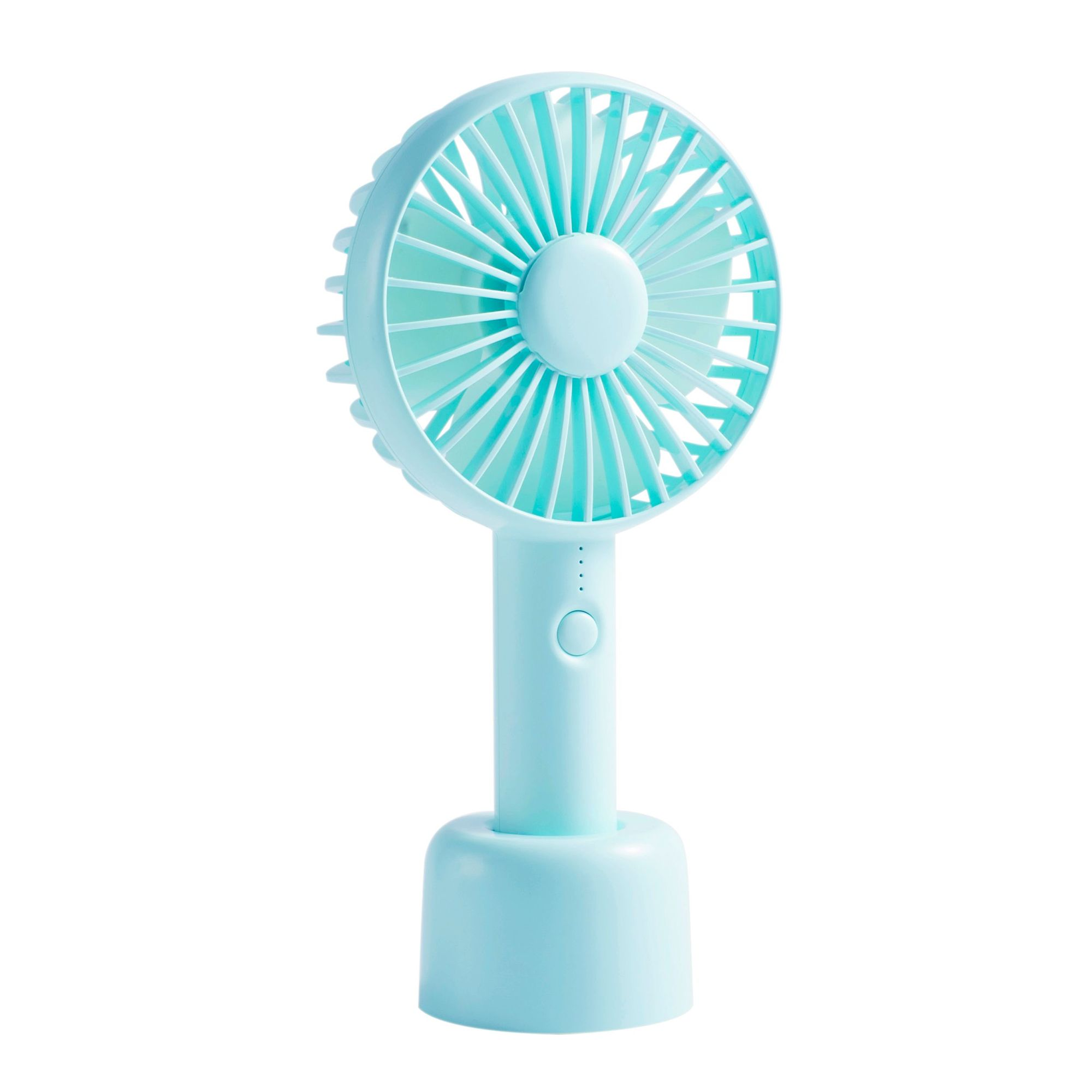 Mini Fan Handheld Mini Fan Mobile Power for Travel Camping 3 Speeds Handheld Mini Fan USB Powered for Home and Oudoor Color : Blue, Size : Free Size