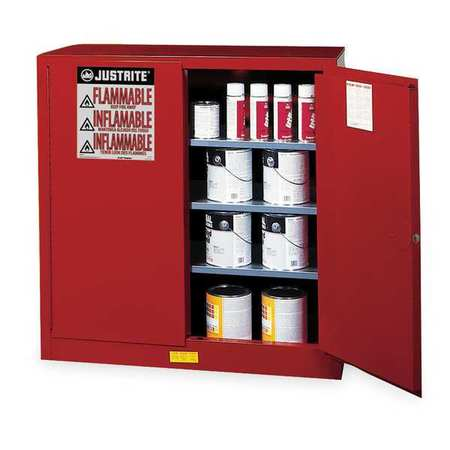 Justrite Paint and Ink Safety Cabinet, Galvanized Steel, Red, 893011