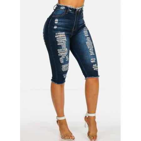 Button Raw Edge - Womens Juniors Casual High Rise Dark Wash 1 Button Ripped Distressed Stretchy Raw Edge Denim Jean Capris Shorts 10641V