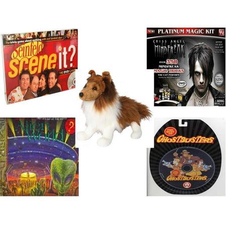 Children's Gift Bundle [5 Piece] -  Scene It? DVD  - Seinfeld Edition - Criss Angel Platinum Magic Kit  - Whispy Sheltie 16