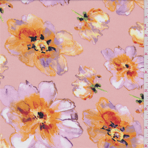 Peach/Pink Large Floral Print Dobby Crepe, Fabric By the Yard