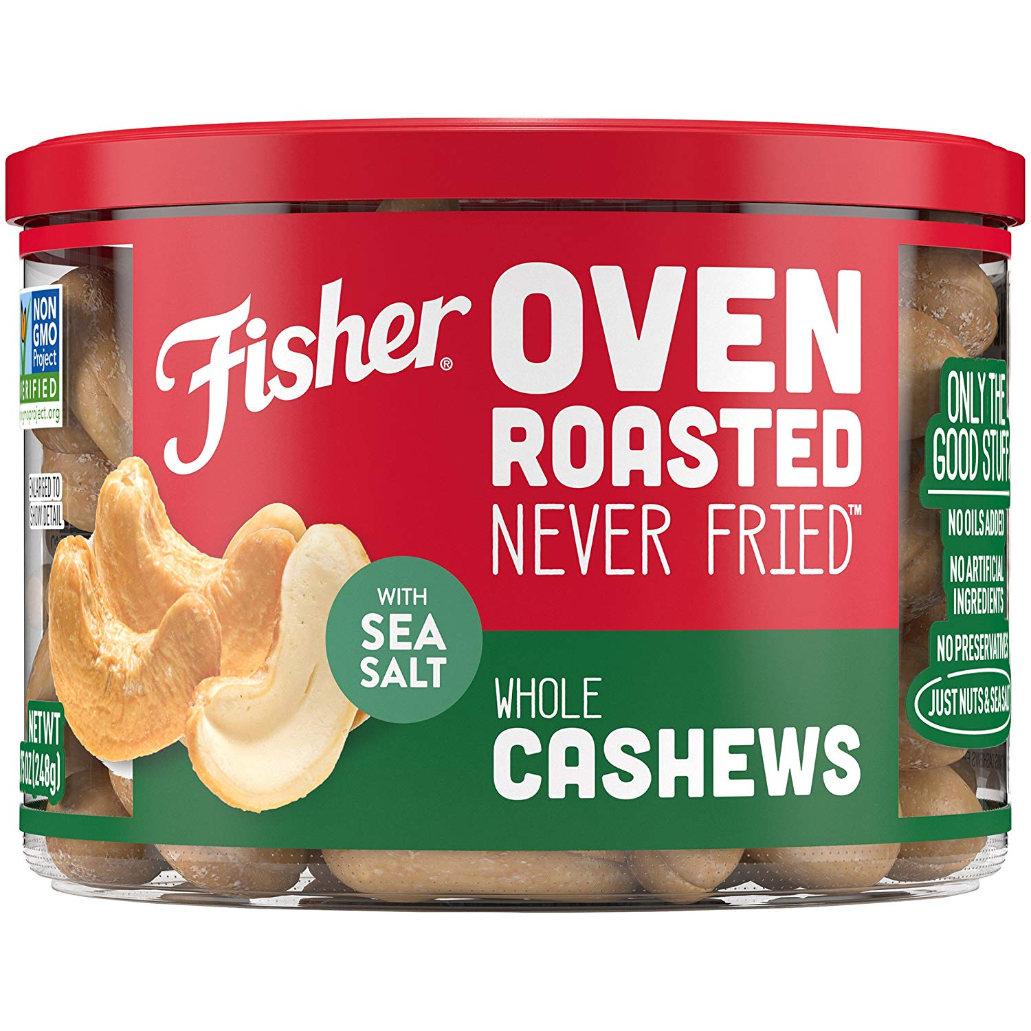 Fisher Snack Oven Roasted Never Fried Whole Cashews, 8.75 oz