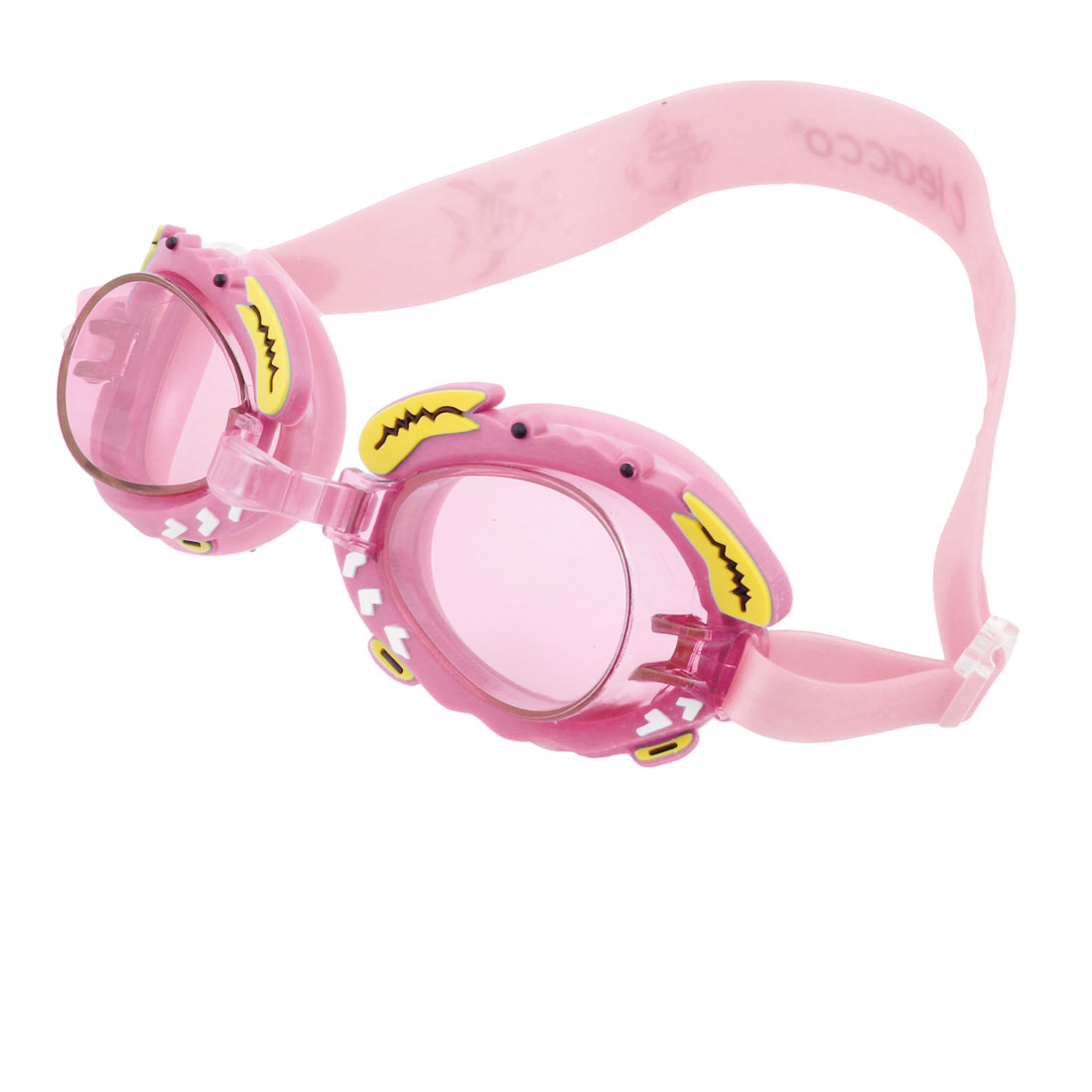 Unique Bargains Children Stretchy Strap Clear Pink Lens Swimming Goggles Glasses w Earcap by