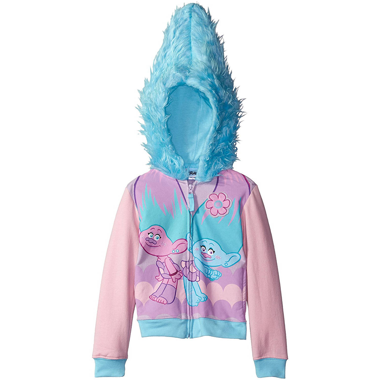 Satin and Chenille Girls' Costume Zip-Up Hoodie with Faux Fur