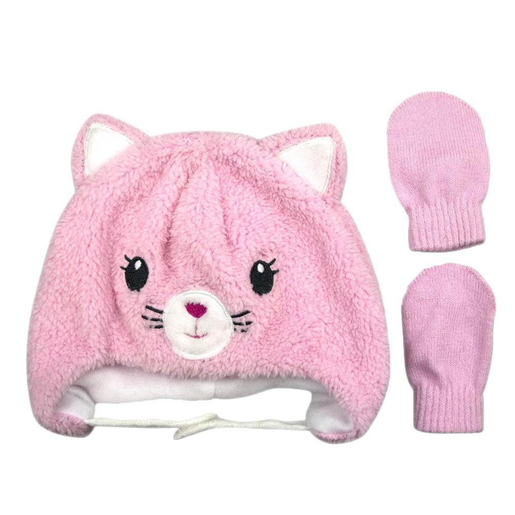 Infant Girls Fuzzy Pink Kitty Cat Peruvian Trapper Hat Amp Mittens Set 0 9