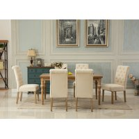 Roundhill Habitanian Solid Wood Dining Table with 6 tufted Chairs, Tan