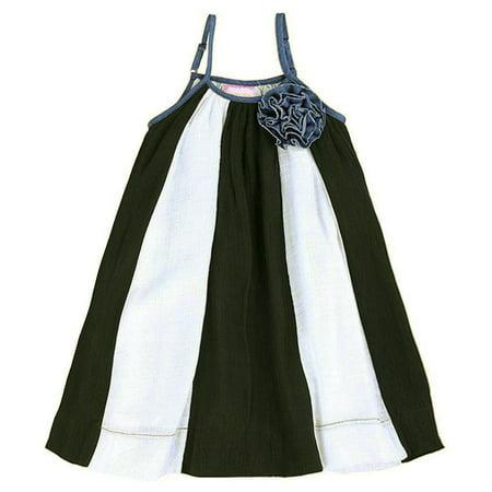 Lele For Kids Little Girls Black White Panel Rosette Accent Casual Dress (Drees For Kids)