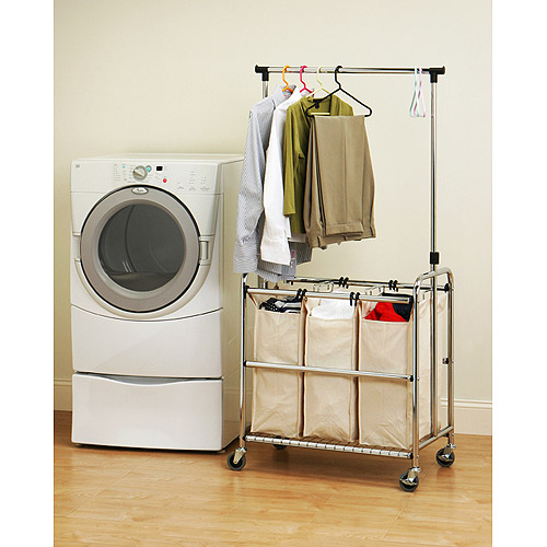 Laundry Hamper 30 75x18x66 3 Large Bag Sorter Cart Clothes