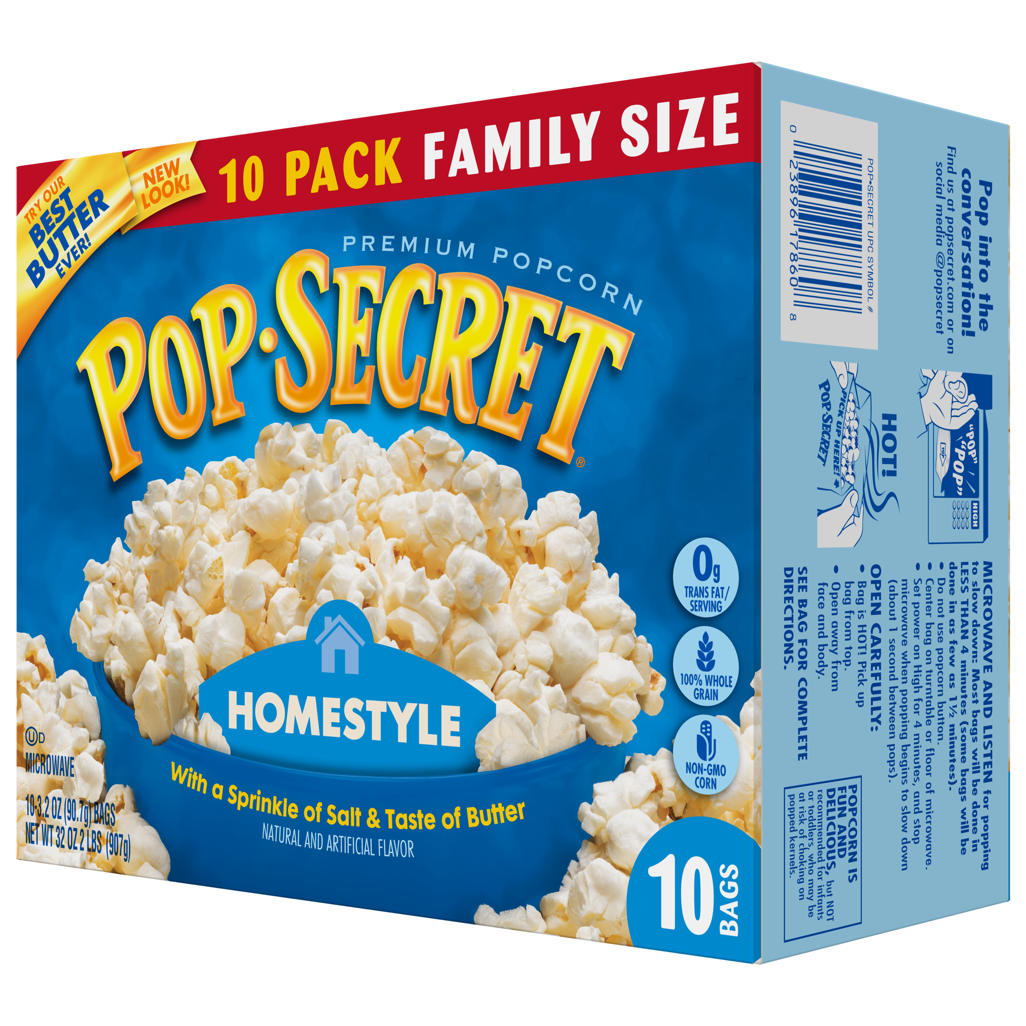 Pop Secret Homestyle Microwave Popcorn, 3.2 oz Bags, 10 Count Box ...