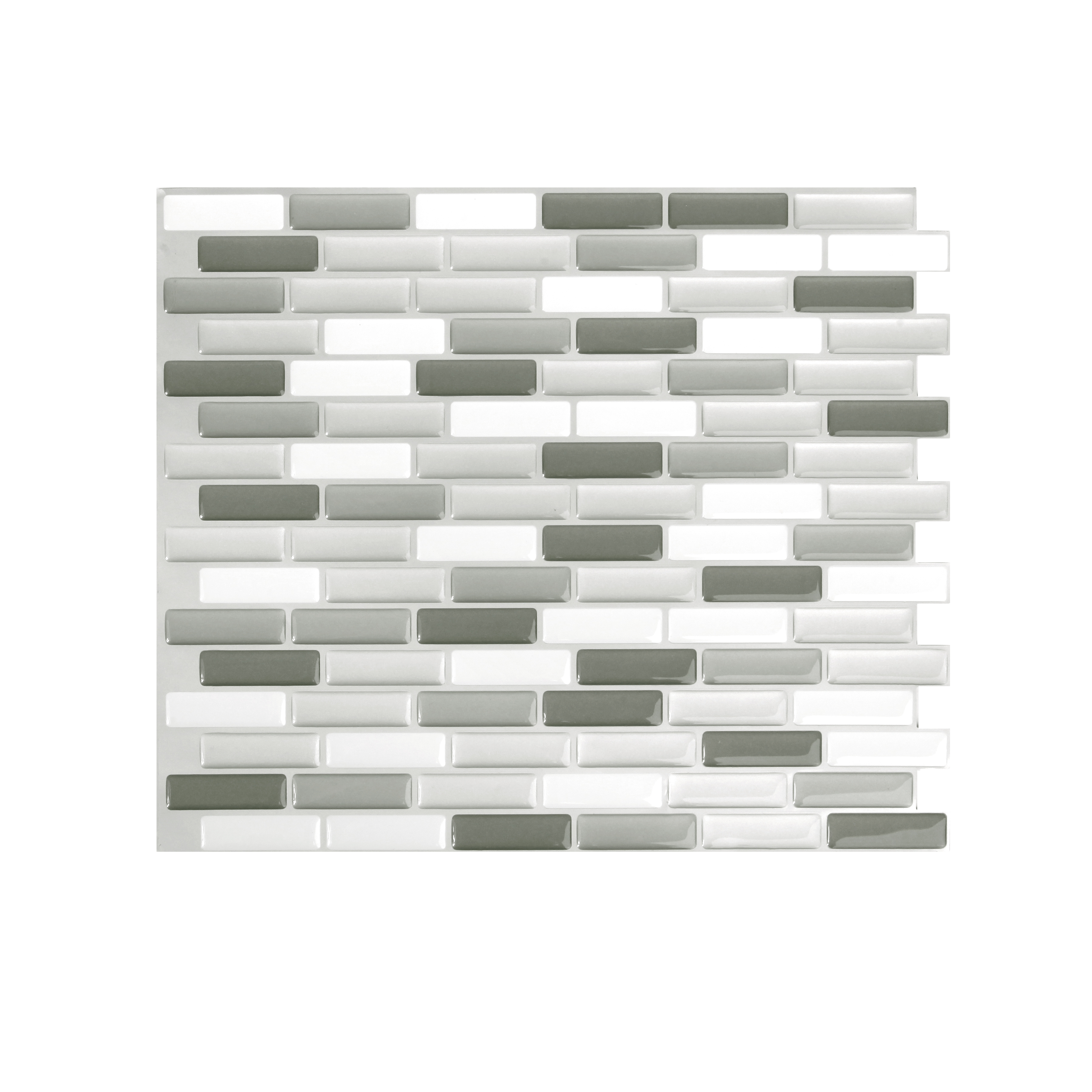 Peel And Impress Adhesive Wall Tile in Glass Grey Oblong (24086)