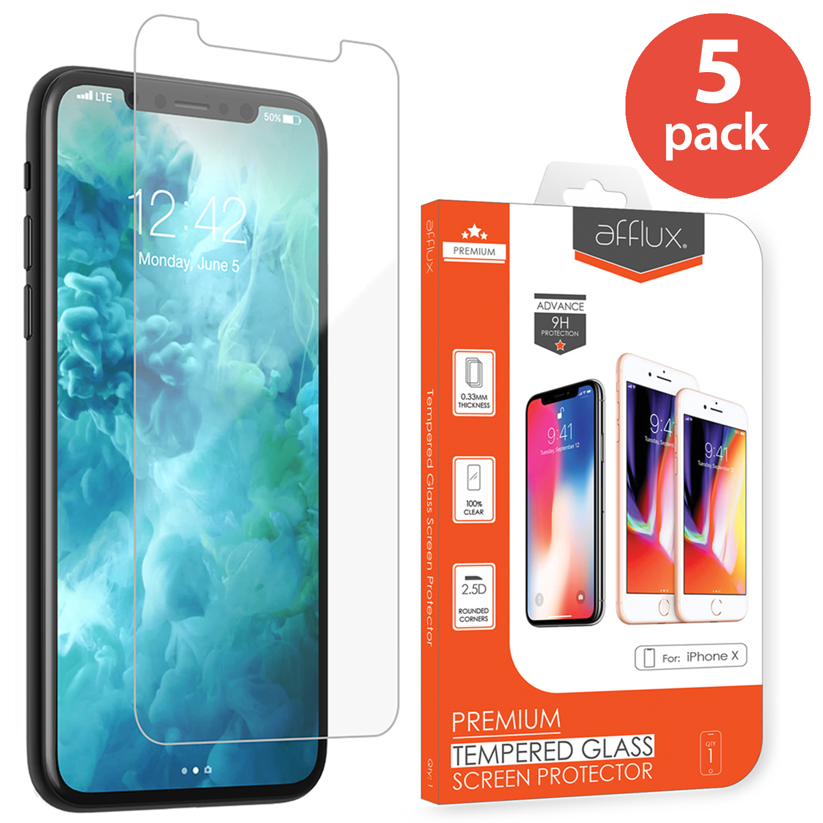 5x Afflux Apple iPhone X Tempered Glass Screen Protector Film Guard Case Friendly For iPhone 10 5.8 inch