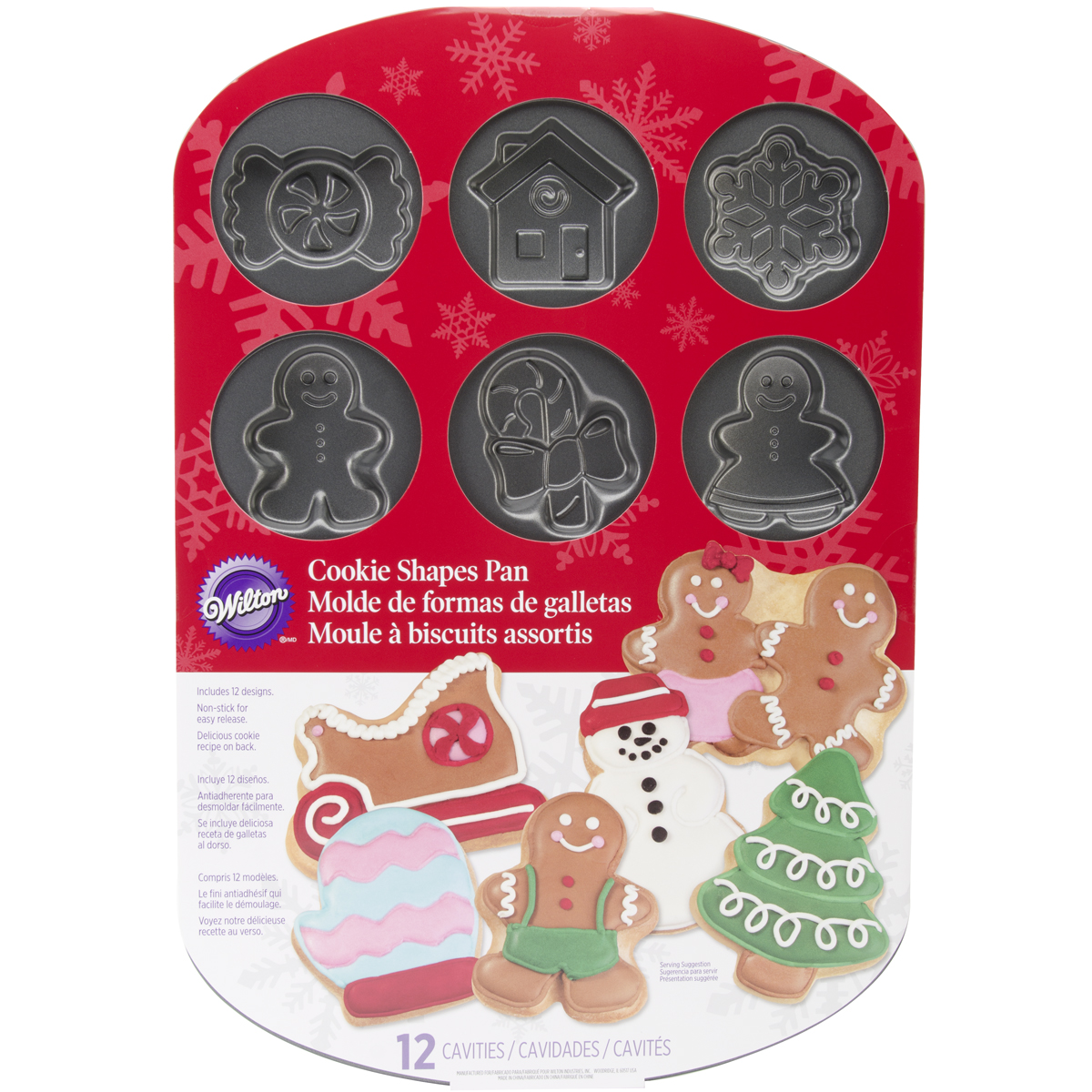 Wilton 12-Cavity Cookie Pan, Holiday 2105-0698