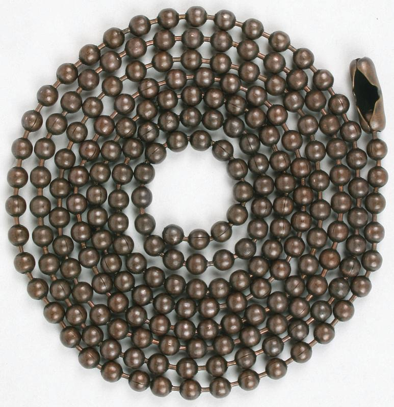 Jandorf 60352 Beaded Chain With NO 6 Connector, 3 ft L, Rustic Bronze