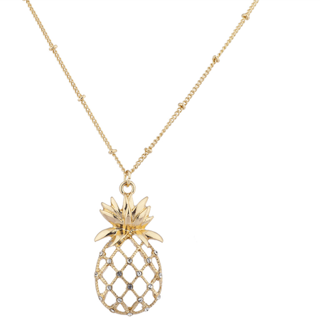 Lux Accessories Gold Tone Pineapple Tropical Fruit Necklace