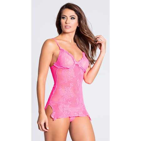Pink Lace Chemise And Thong, Baby Pink Lingerie (Chemise Music)