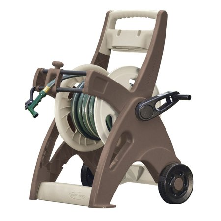 Suncast Hose Reel Cart - Suncast Slide Trak Hosemobile 175 Foot Resin Mobile Garden Hose Reel Cart, Mocha