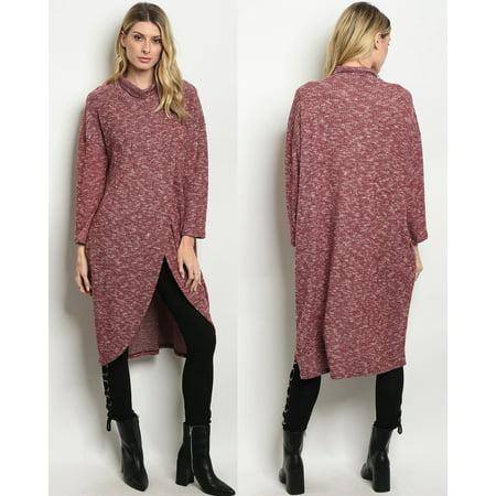 - JED FASHION Women's Stretchy Knit Turtleneck Tulip Hem Tunic Top