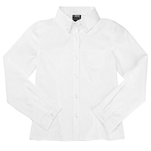 French Toast Long Sleeve Oxford Blouse With Darts Girls White 10