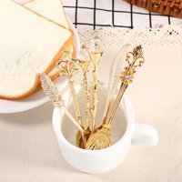 Mgaxyff 6Pcs/Set Vintage Royal Style Metal Mini Coffee Spoons and Fork Kitchen Fruit Coffee Accessories, Tableware Gift, Vintage Dinnerware