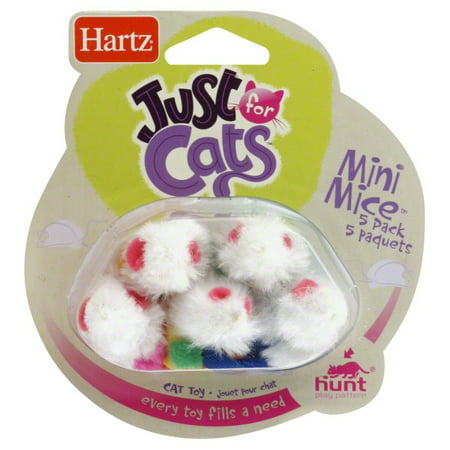 Hartz Just For Cats Catnip Filled Mini Mouse Cat Toy, 5 Count