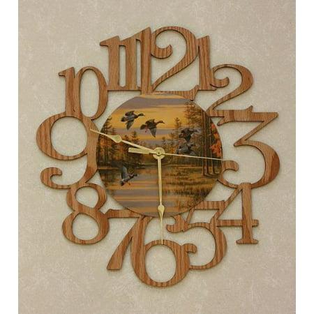 Ducks ~ Large Decorative Oak Photo Wall Clock ~ Great Gift Idea For A Duck Hunter! - Clock Craft