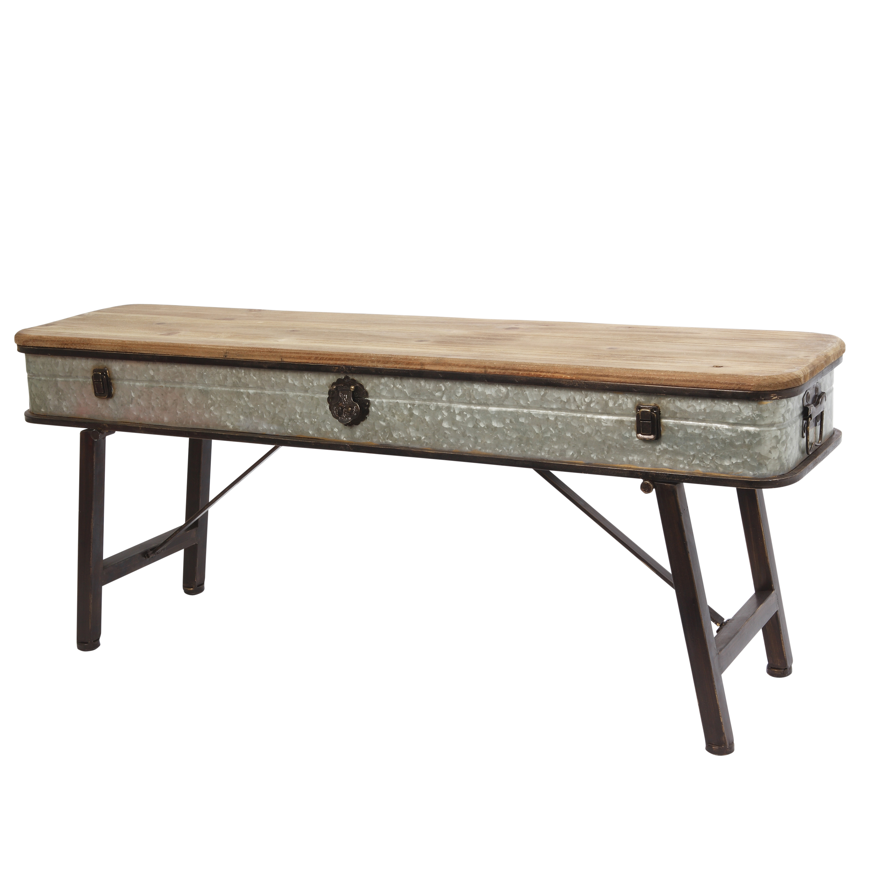 41.25 Inch Metal and Wood Antique Bench with Latch Accent