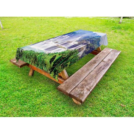 Nature Outdoor Tablecloth, Waterfall Exotic Tropical Leaves Natural Swimming Pool Water Picture, Decorative Washable Fabric Picnic Table Cloth, 58 X 84 Inches,Forest Green Pale Blue, by
