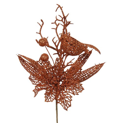 The Holiday Aisle Poinsettia and Bird Decorative Christmas Pick (Set of 12)