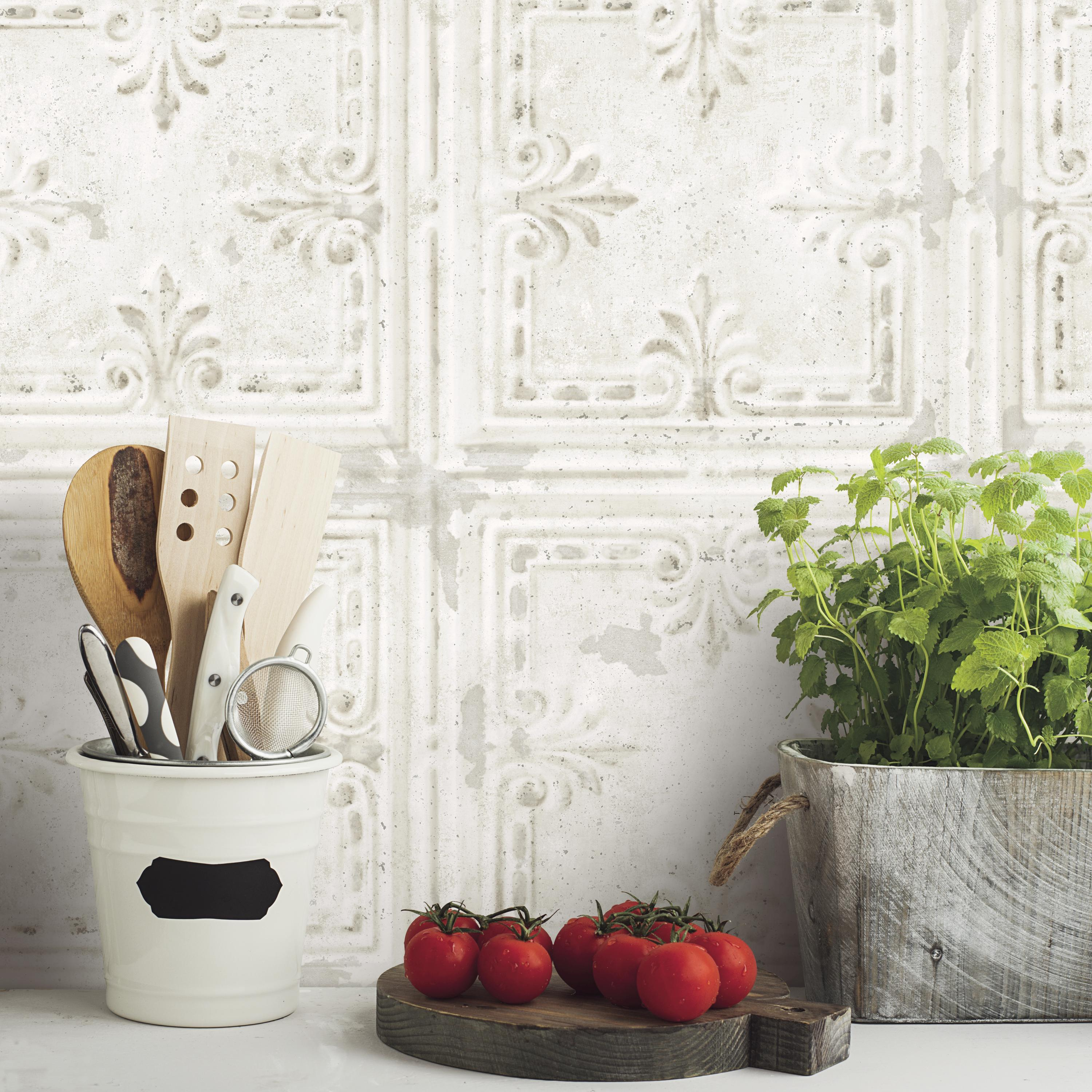 Up To 45 Off Peel Stick Kitchen Backsplash Tile At Walmart: Tin Tile White Peel And Stick Wallpaper, Buy One Get One
