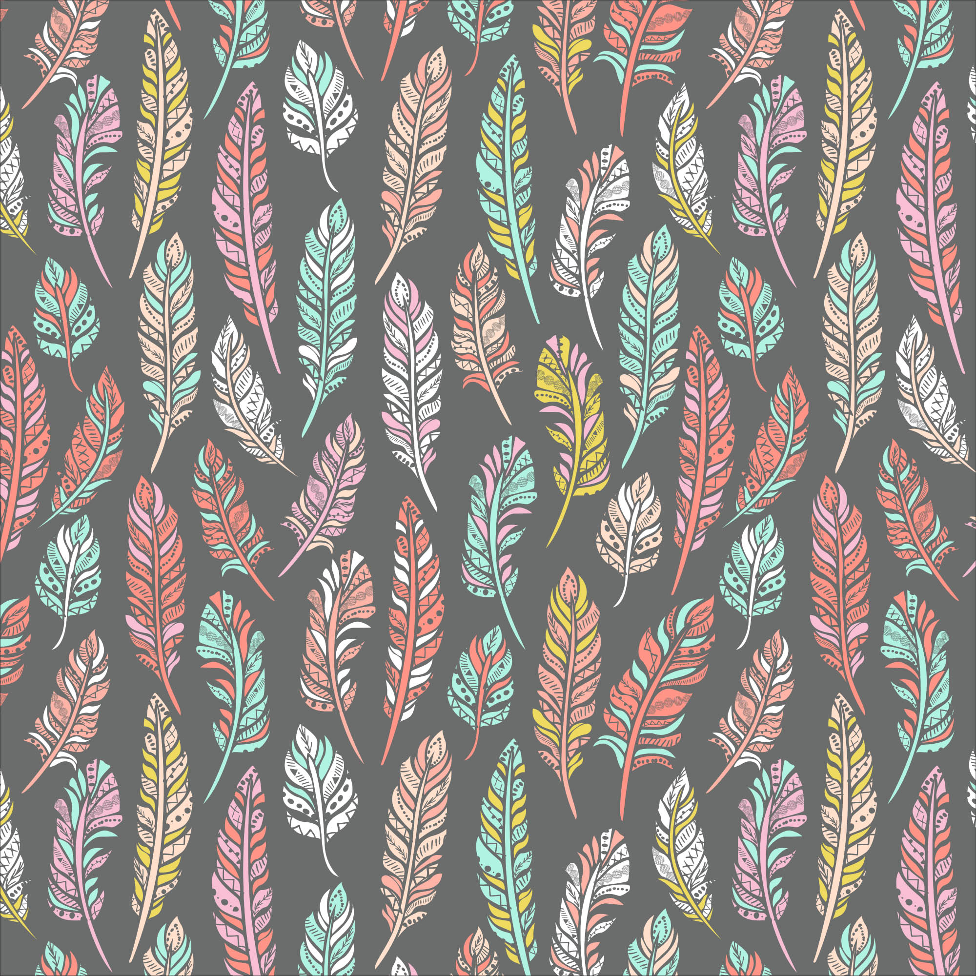 """David Textiles Anti-Pill Fleece Ethnic Feathers Grey/Coral Fabric By The Yard 60"""""""
