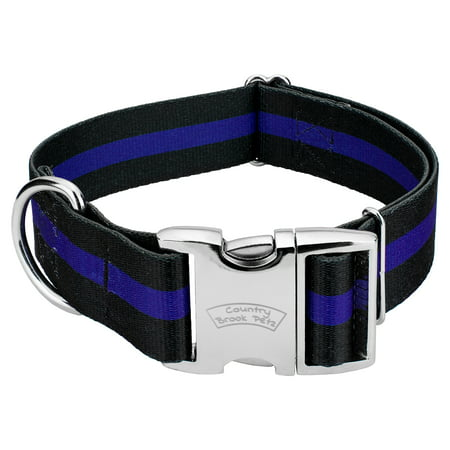 Country Brook Petz - 1 1/2 Inch Premium Thin Blue Line Dog Collar