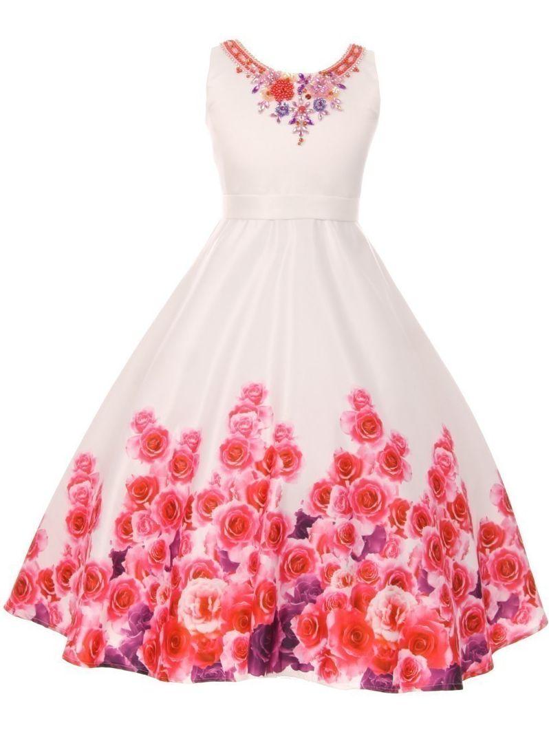 Little Girls White Pink Rose Print Beaded Flower Girl Dress